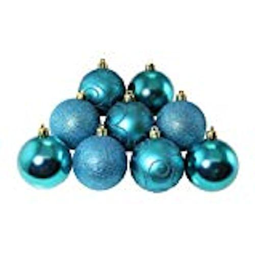 Christmas Tree Baubles - Shatterproof Jade Green & Blue Pack of 9 Assorted