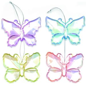 Christmas Tree Hanging Decorations - Acrylic Butterfly Pack of 4 Assorted