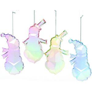 Set of 4 Pastel Coloured Snowmen Tree Decorations