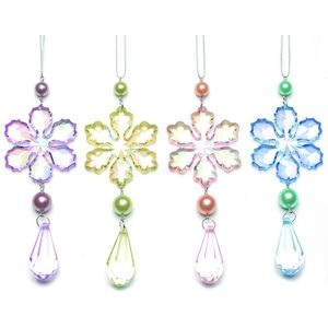 Set of 4 Pastel Coloured Snowflakes Tree Decorations