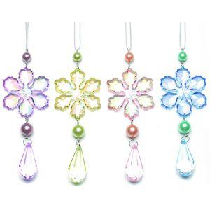 Set of 4 Pastel Coloured Snowflakes Tree Decorations