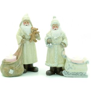 Festive Tea Light Candle Holders Set - Santa with Sleigh & Santa with Sack