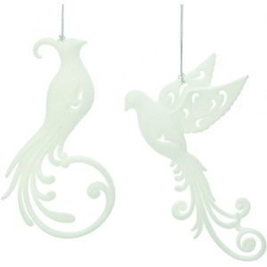 Christmas Tree Hanging Decorations - White Glitter Bird Pack of 2 Assorted