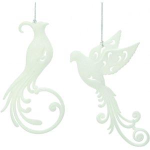 Set of 2 White Glitter Birds Tree Decorations