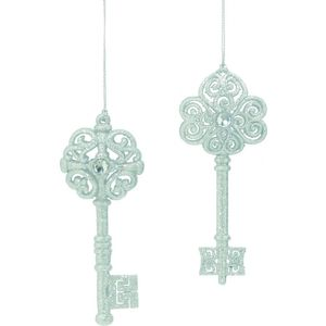 Christmas Tree Hanging Decorations - Silver Glitter Key Pack of 2 Assorted