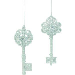 Set of 2 Silver Glitter Keys Tree Decorations
