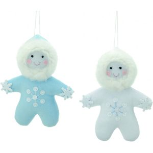 Festive Hanging Ornaments - Set of 2 Eskimos (White & Blue)