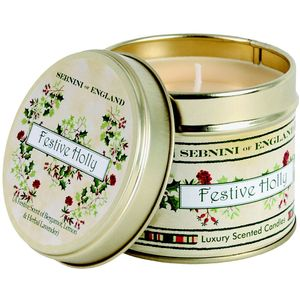 Large Roomscenter Candle in Tin -Festive Holly