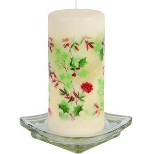 Christmas Decoration - Pillar Candle Festive Holly Design