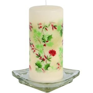 Christmas Pillar Candle - Festive Holly