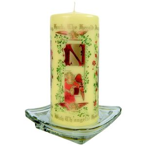 Christmas Pillar Candle - Hark the Herald Angels