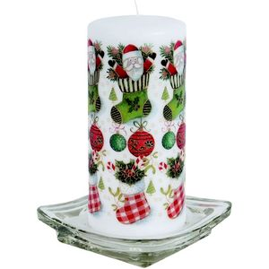Christmas Decoration - Pillar Candle Festive Delight Design