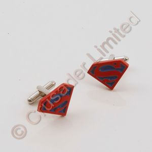 Superman Cufflinks (Red and Blue)