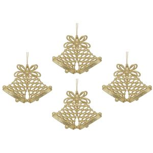Christmas Tree Hanging Decorations - Gold Glitter Bells Pack of 4