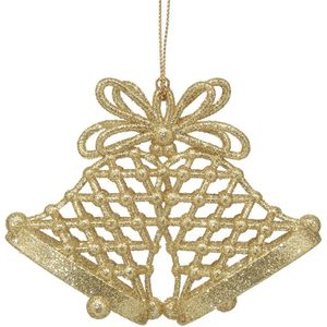 Gold Glitter Bells Tree Decorations Set of 4