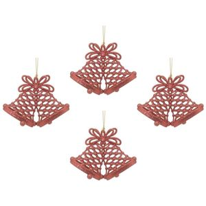 Christmas Tree Hanging Decorations - Red Glitter Bells Pack of 4