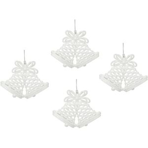 Christmas Tree Hanging Decorations - White Glitter Bells Pack of 4