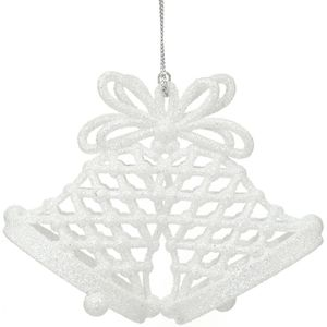 White Glitter Church Bells Tree Decorations Set of 4
