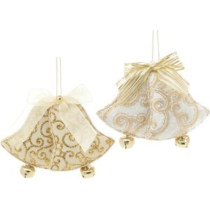 Christmas Tree Hanging Decorations - Gold Fabric Beaded Bells Pack of 2 Assorted