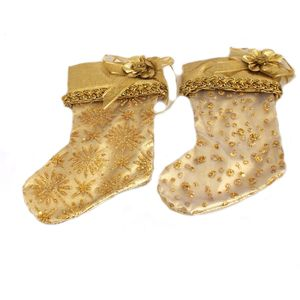 Christmas Tree Hanging Decorations - Gold Fabric Stocking Pack of 2 Assorted