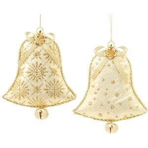 Christmas Tree Hanging Decorations - Gold Fabric Bell Pack of 2 Assorted