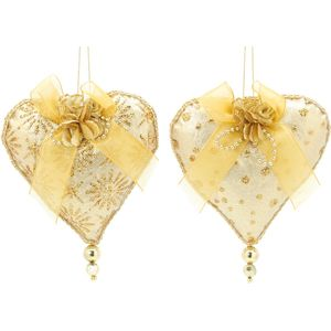 Christmas Tree Hanging Decorations - Gold Fabric Heart Pack of 2 Assorted