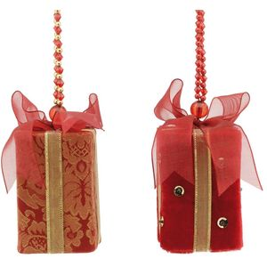 Christmas Tree Hanging Decorations - Red Fabric Gift Boxes Pack of 2 Assorted