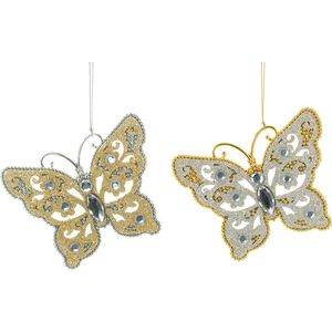 Christmas Tree Hanging Decorations - Gold & Silver Butterfly Pack of 2 Assorted