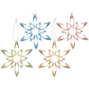 Christmas Tree Hanging Decorations - Acrylic Snowflake Pack of 4 Assorted
