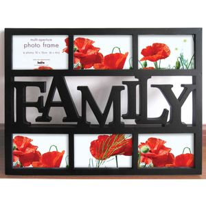 Black Multi Aperture Photo Frame - Family 6x4""