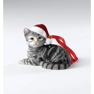 Silver Tabby Cat Hanging Ornament