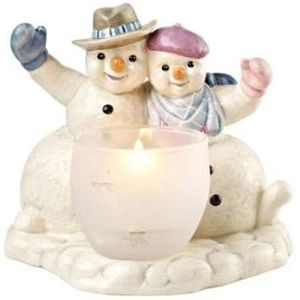 Winter Greetings Snowmen with Tealight Candle Holder