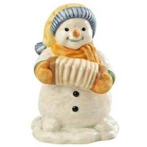 Little Accordion Player Snowman Figurine
