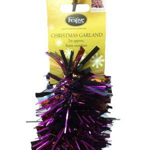 Christmas Garland Tinsel 2M Pack of 2 - Purple & Bronze
