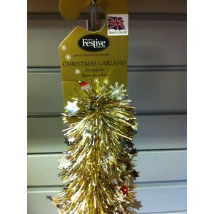 Christmas Garland Tinsel - Gold with Silver Star Pack of 2 2M Length