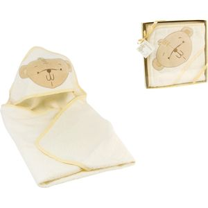 Button Corner Embroidered Hooded Towel with Teddy Bear Motif