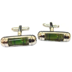 Spirit Level Cufflinks - Green Bubble