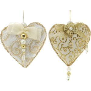 Christmas Tree Hanging Decorations - Gold Fabric Beaded Heart Pack of 2 Assorted