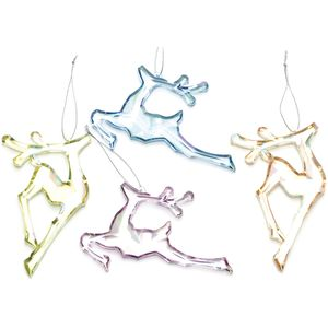 Christmas Tree Hanging Decorations - Acrylic Reindeer Pack of 4 Assorted
