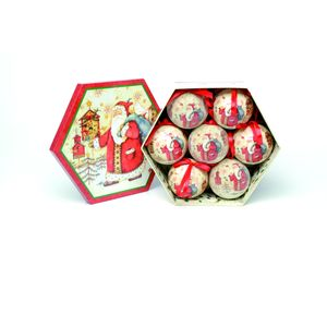 Traditional Father Christmas Decoupage Baubles PK of 7