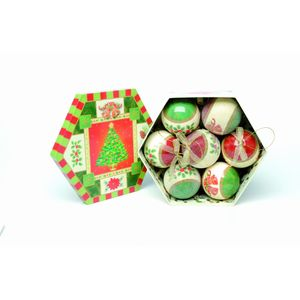 Christmas Tree Baubles - Decoupage Bells & Berries Pack of 7 Assorted