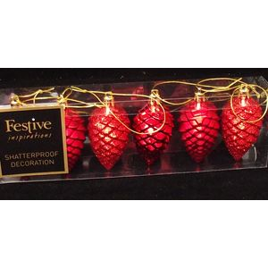 Christmas Tree Hanging Decorations - Red Pine Cone Pack of 6