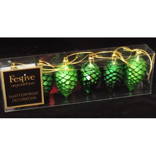 Set of 6 Pine Cone Decorations - Green