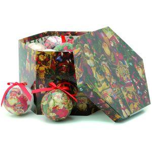 Set of 14 Decoupage Traditional Christmas Santa Baubles