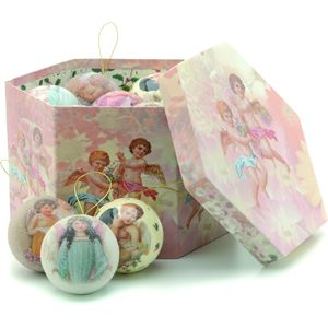 Set of 14 Decoupage Christmas Vintage design Baubles