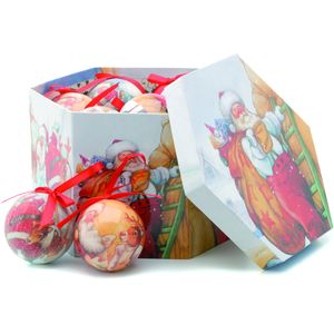 Christmas Tree Baubles - Decoupage Santa Claus Pack of 14 Assorted
