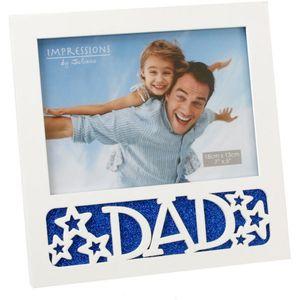 """White Photo Frame 7x5"""" - Dad"""