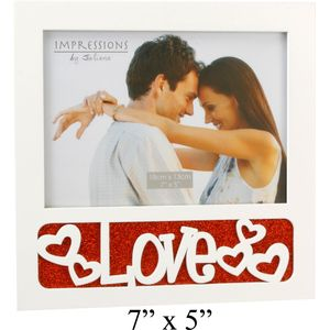 "Love Photo Frame (Red & White) 7x5"""