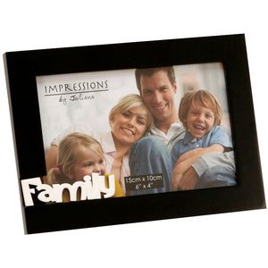 "Black Photo Frame 6"" x 4"" - Family"