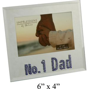 No 1 Dad Glass Photo Frame with crystals